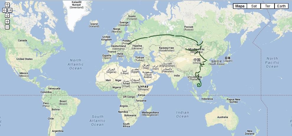 27 stycznia 2014. 231 dni w podróży w zarysie pędzlem. Poniżej bardziej szczegółowo, palcem po mapie.
